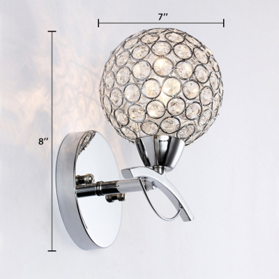 Modern Style Globe Sconce Lighting Clear Crystal Wall Mounted Light Fixture for Bedroom