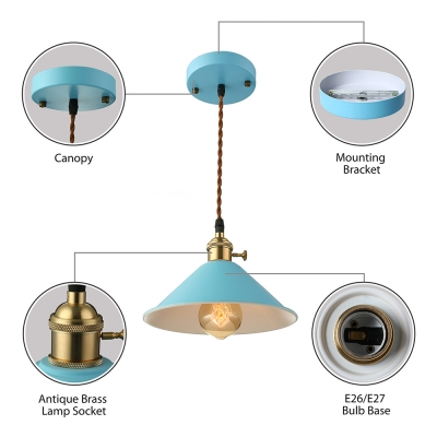 Multi Color Cone Pendant Light Macaroon Metal 1 Light Hanging Light in Blue/Brown/Gray/Green/Red/White/Yellow