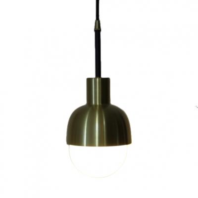 Opal Glass Dome Pendant Light 1 Light Vintage Modern Hanging Lamp in Brass
