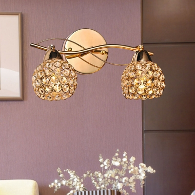 Orb Bathroom Sconce Lighting Clear Crystal 2 Lights Vintage Style Wall Light, H5.5