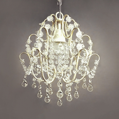 Single Light Chandelier Light Classic Metal Hanging Light with Clear Crystal and 12