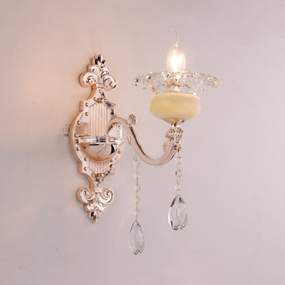 Traditional Flower Sconce Light 1/2 Lights Clear Crystal and Metal Wall Lamp in Gold