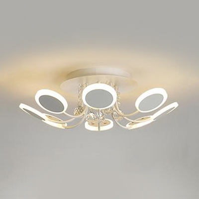 White Bedroom Light Fixture with Clear Crystal Acrylic Traditional LED Semi Flush Mount Lighting HL514488 фото