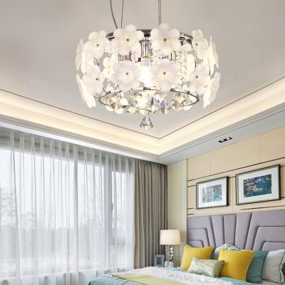 White Floral Flush Mounted Light 6-Light Modern Style Clear Crystal Ceiling Lighting for Bedroom