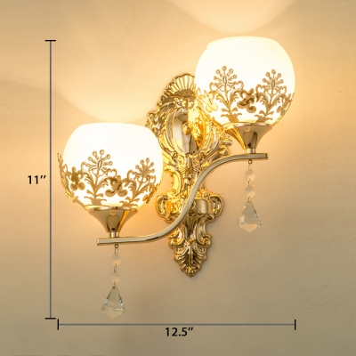 White Glass Orb Wall Lamp 2-Light Antique Style Sconce Light with Clear Crystal, L:12.5in W:6in H:11in