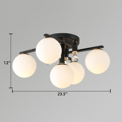White Globe Ceiling Lamp Contemporary Acrylic Semi-Flush Light with Clear Crystal Decoration