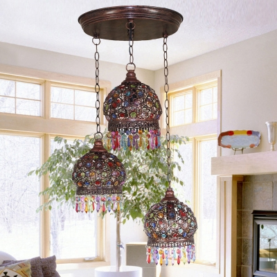 3 Lights Globe Suspended Light Vintage Colorful Crystal Hanging Lamp in Rust with Round/Linear Canopy