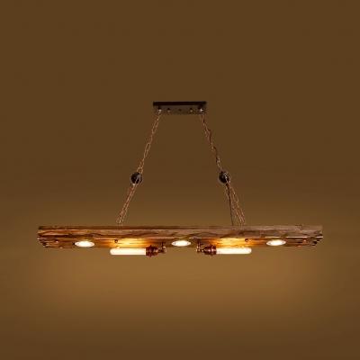 5 Lights Rectangle Island Light Fixtures Antique Metal Length Adjustable Island Pendants with 39