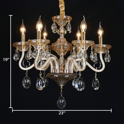 6/8/10 Lights Candle Chandelier Vintage Clear Crystal and Metal Hanging Lamp with 12