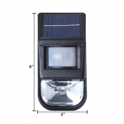 1 LED Solar Powered Lights Outdoor Fence with Motion Sensor Stainless Steel Security Lights in Black