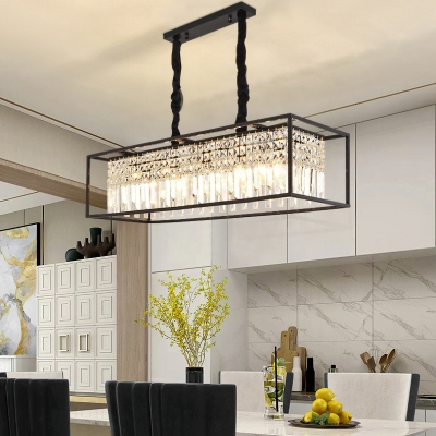 Rectangle Living Room Chandelier Metal 5 Lights Vintage Chandelier Light with Clear Crystal in Black/Gold