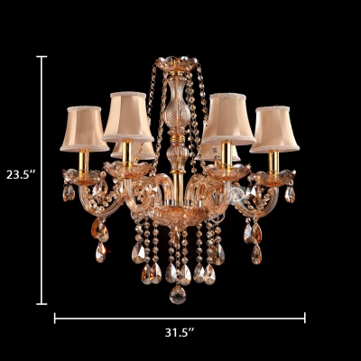 6/8/10 Lights Tapered Ceiling Light Classic Clear Gold Crystal Hanging Chandelier with 19.5