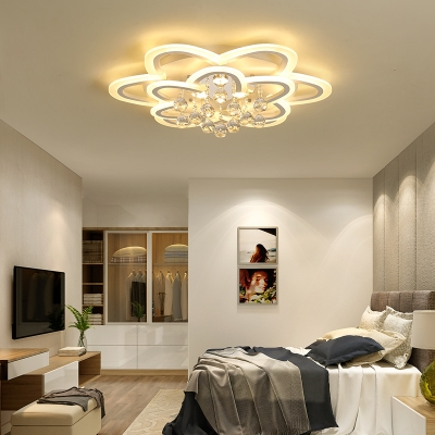 Acrylic Flower Flush Light Modern LED Ceiling Fixture with Clear Crystal in White for Dining Room