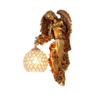 Antique Spherical Sconce Light Clear Crystal 1 Light in Gold Wall Light for Living Room