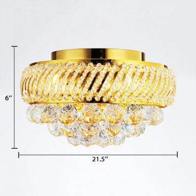 Contemporary Gold Flush Mount Lighting with Round 3/4/5 Lights Metal Ceiling Pendant