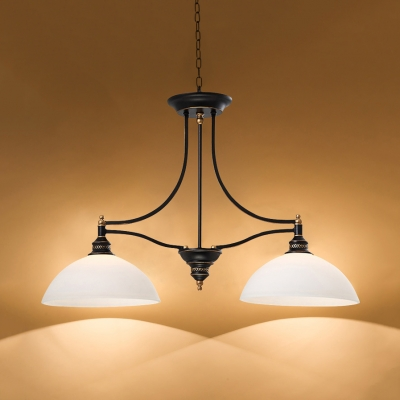 Dome Island Lighting Kitchen Glass and Metal 2 Lights Industrial