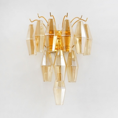 Gold Triangle Sconce Light 7 Lights Contemporary Gold/Smoke Grey/Amber Crystal Sconce for Bedroom