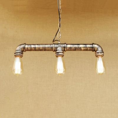 Industrial Pipe Island Lamp 3 Lights Metal Brass Island Pendants with 31.5
