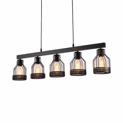 Lantern Hanging Island Lights Dining Room 5 Lights Industrial Pendant Lights with 31.5