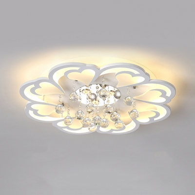 Living Room Flower Ceiling Fixture Acrylic Modern White LED Flush Ceiling Light with Clear Crystal