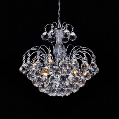 Modern Clear Crystal Hanging Chandelier with 23.5