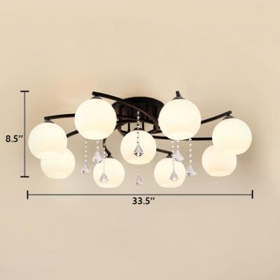 Modern Orb Semi-Flush Light Acrylic 3/5/7/9 Lights White Ceiling Fixture for Dining Room