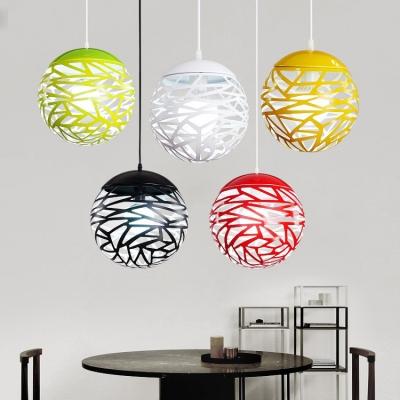 Round LED Ceiling Light Single Light Length Adjustable Modern Metal Hanging Lamp for Dinging Room