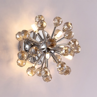 Sputnik LED Ceiling Light with Clear/Amber Crystal Ball Mid Century Modern Flush Mount in Polished Chrome
