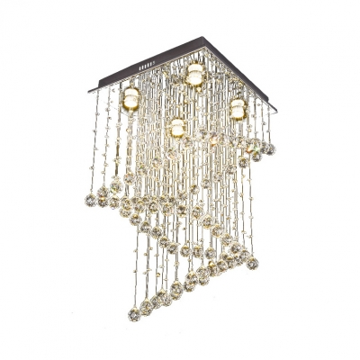 Square Canopy Chandelier Living Room 4 Lights Contemporary Ceiling Light in Chrome