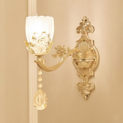 Traditional Gold Wall Light with Flower and Clear Crystal 1/2 Lights Metal Wall Sconce