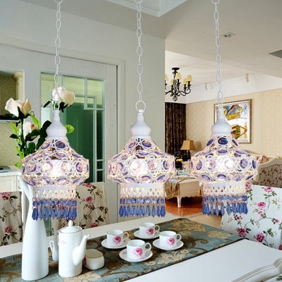 Traditional Lantern Ceiling Light 3 Lights Metal Pendant Lamp with Blue/Multi-Color Crystal and Round/Linear Canopy