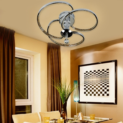 Twist LED Semi Flush Light Metal Contemporary Chrome Ceiling Lamp with Clear Crystal for Dining Room