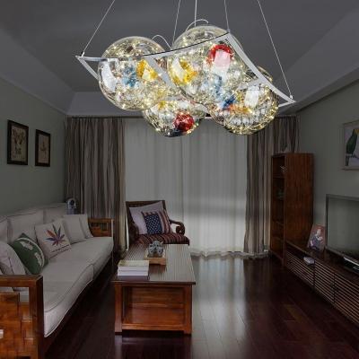 Vintage Globe Hanging Pendant Multi Color Crystal 1/2/4 Lights Chandelier Light for Living Room