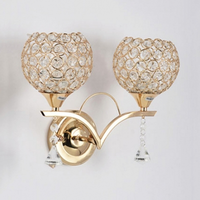 Vintage Style Brass Wall Mounted Lights with Orb Shade 2-Light Clear Crystal Sconce Lighting