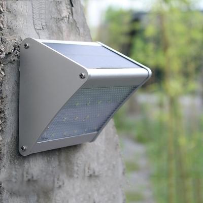 1/2/4-Pack Solar Lights Dim Light Radar Sensor Silver Finished 24 LED Step Lights for Garden