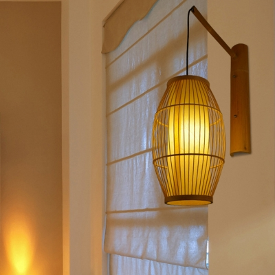 Asian Style Oval Shade Wall Lantern for Restaurant Bamboo Wall Light in Beige with Cylinder Inner Shade