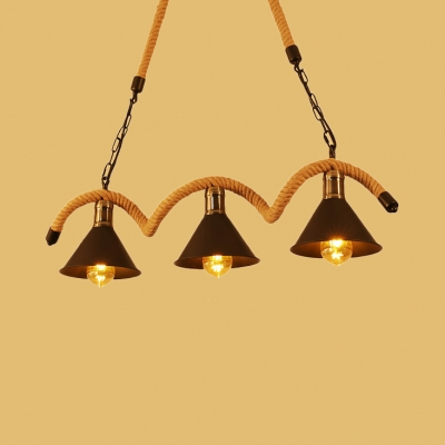 Brass Cone Island Lamps 3/5 Lights Industrial Metal Pendant Lights with 31.5