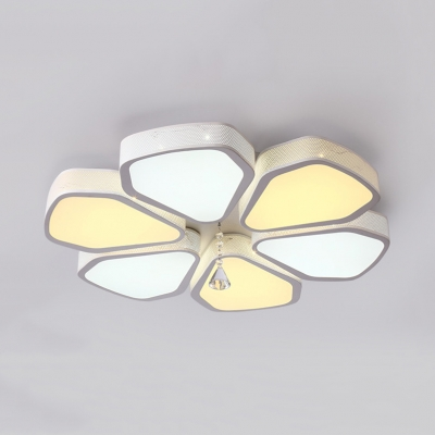 Contemporary Petal Flush Ceiling Light Acrylic White LED Ceiling Fixture with Clear Crystal for Bedroom