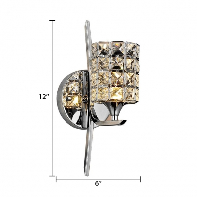 Contemporary Style Cylindrical Wall Light Fixture Clear Crystal One-Light Sconce Lighting for House