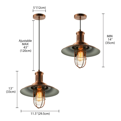 Copper/Nickel Finished 1 Light Indoor Nautical LED Pendant Light 12'' Wide
