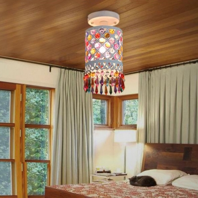 Cylinder Semi Flush Light with Colorful Crystal 1/3 Lights Decorative Ceiling Light in White