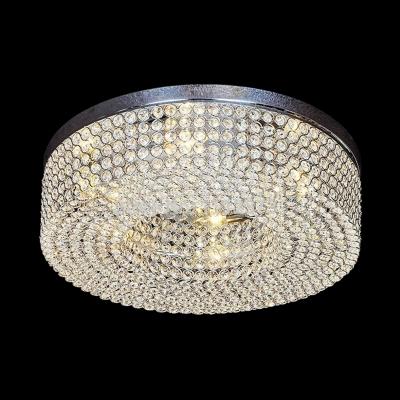 Drum Ceiling Light Fixture for Living Room 6-Light Vintage Style Clear Crystal Flush Mount Lighting, 6