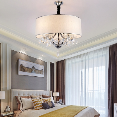Drum Living Room Pendant Lighting with Adjustable Cord and Clear Crystal Decoration 4 Lights Modern Chandelier in Beige/Silver/Black