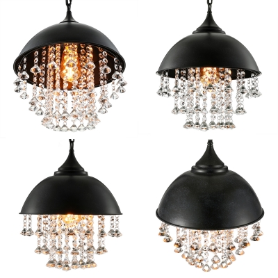 Industrial Retro Large Pendant Light with Hanging Crystal in Black Dome Shade for Restaurant Cafe Bedroom