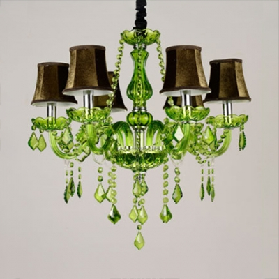 Kid Bedroom Candle Chandelier Crystal Traditional Pink/Yellow/Green Hanging Chandelier with 12