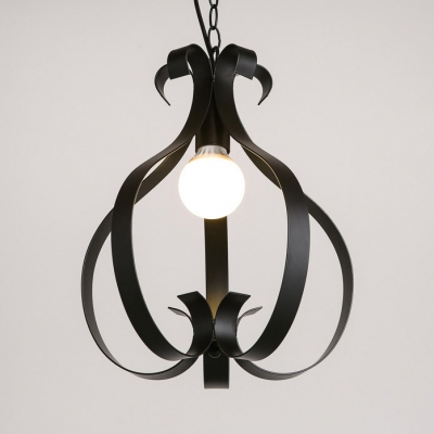 Lantern Dining Room Pendant Lamp Metal 1 Light Antique LED Ceiling Lighting with Adjustable Chain in Black/White