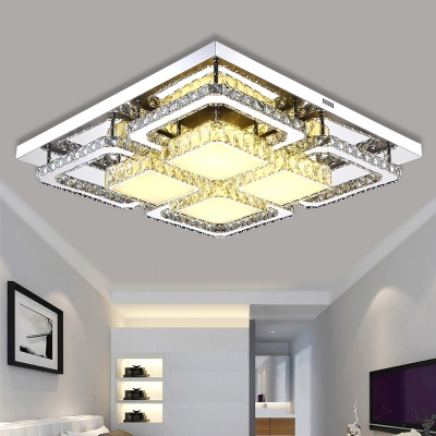 Living Room Square Ceiling Fixture Modern Chrome LED Semi Flush Mount Light with Clear Crystal