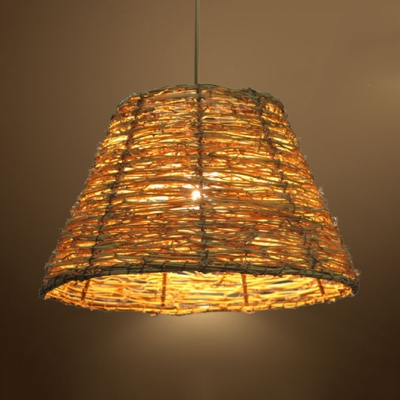 Lodge Beige/Brown Ceiling Pendant with Bucket Shade 1 Light Hand Knitted Drop Light