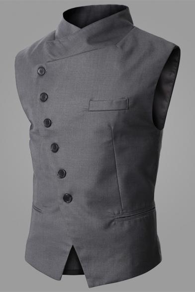 Men Vintage British Style Slant Button Down Waistcoat Slim Fit Business Suit Vest