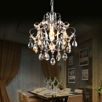 Modern Adjustable Hanging Chandelier 1 Light Clear/Amber/Blue/Pink Crystal Hanging Light Fixtures for Bedroom